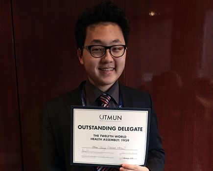 Ethan Jiang won Outstanding Delegate at the Model UN