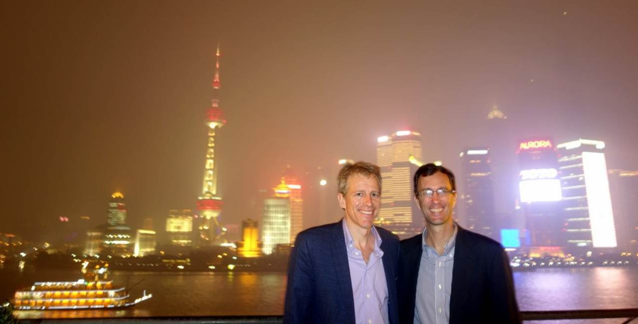 Whitney Tilson '82 and Tony Jaccaci '84 in Shanghai, fall 2013. Whitney was in town on business, and Tony is the head of the YK Pao School