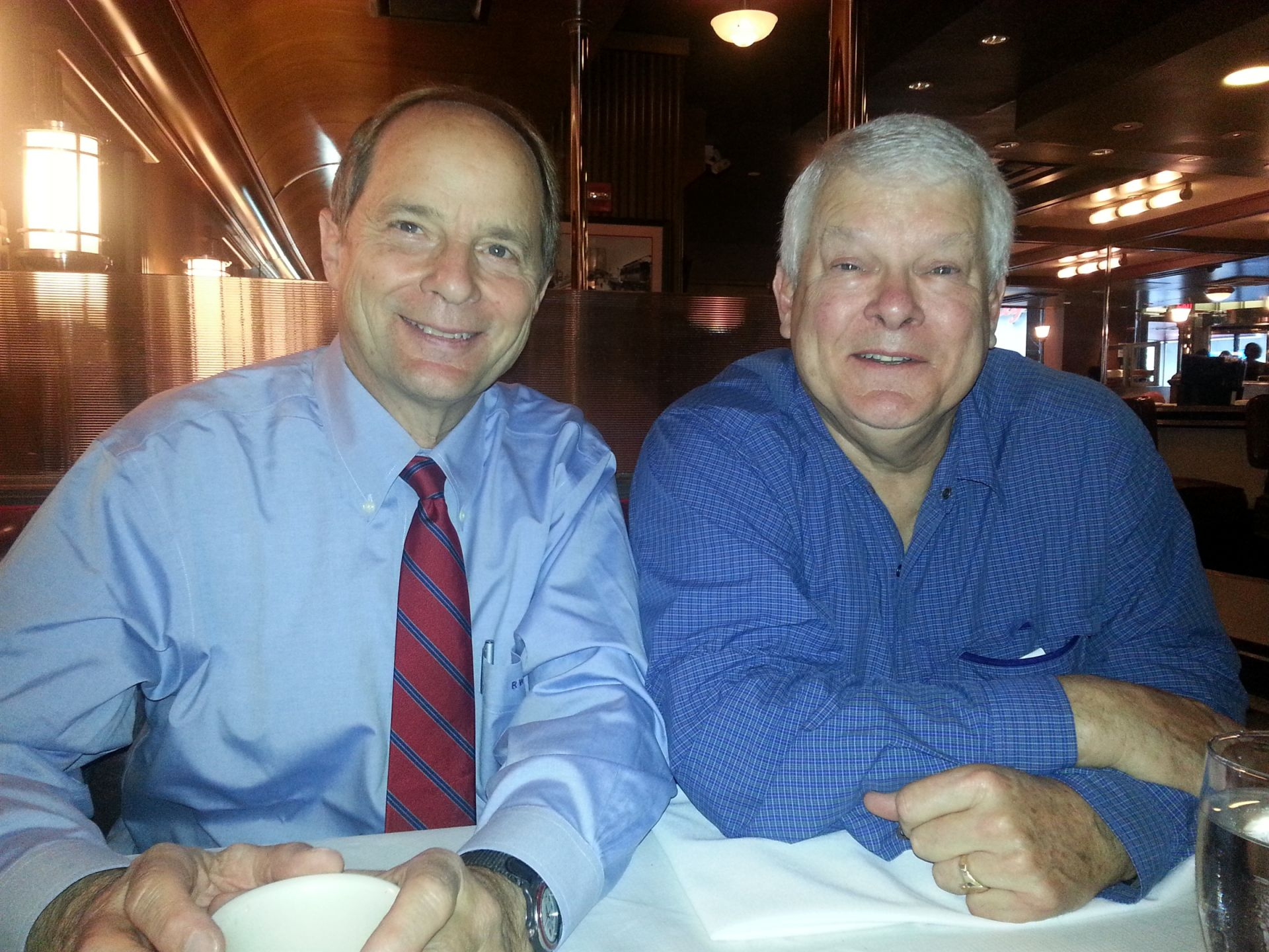 Rick Moulton '64 and Randy Judd '64 enjoying a meal at the Brooklyn Diner