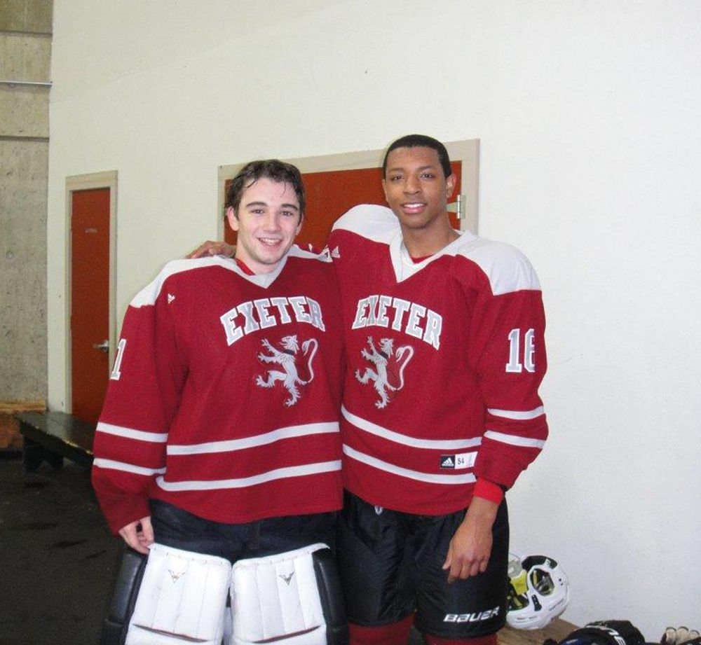 Jack Parsons '11 and Jordan Haney '13 playing hockey at Exeter.