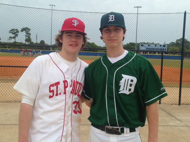 Henry Hohlstein '13 & Dylan Presnal '13 representing St. Paul's and Deerfield Baseball at the Florida Coast Spring Training Camp in Port St. Lucie, FL in March, 2014.