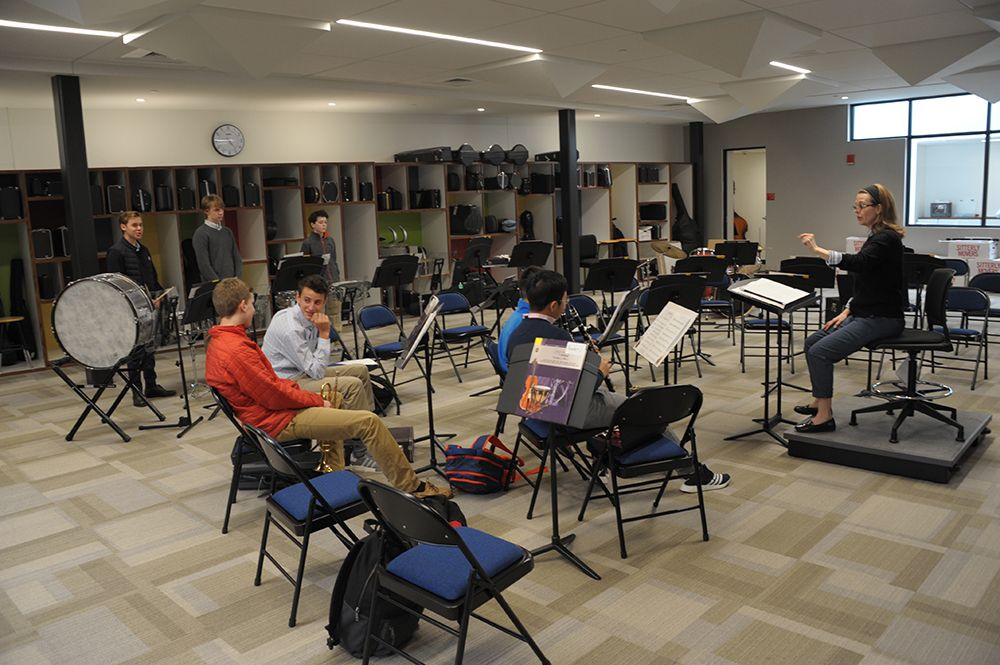 The music room in the Edward P. Evans Academic Center