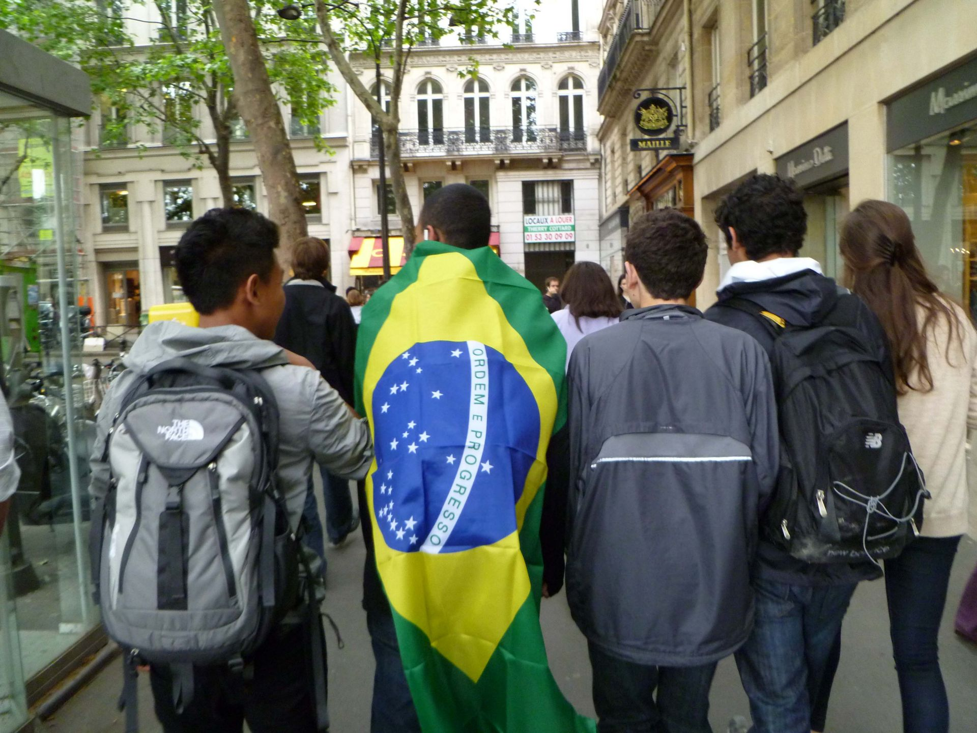 Students traversed Paris amid World Cup fever. One Brazilian student showed his pride.