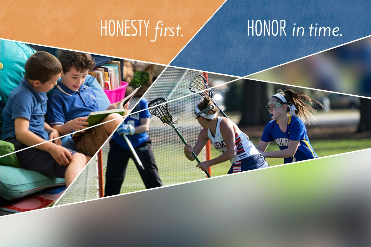 The broad strokes of honor that students encounter in lower school  mature along with them, developing into the finer points of empathy,  integrity, and character.