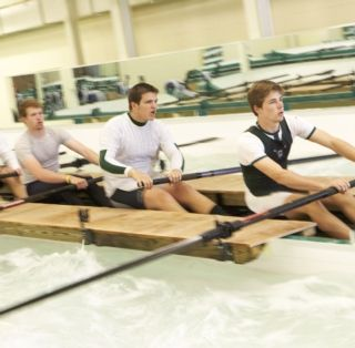 The crew team uses the rowing center in the winter and on cold, rainy days in the spring.