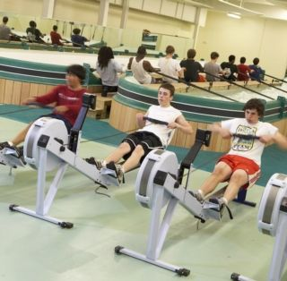 In addition to two rowing tanks, the center also has a number of ergs.