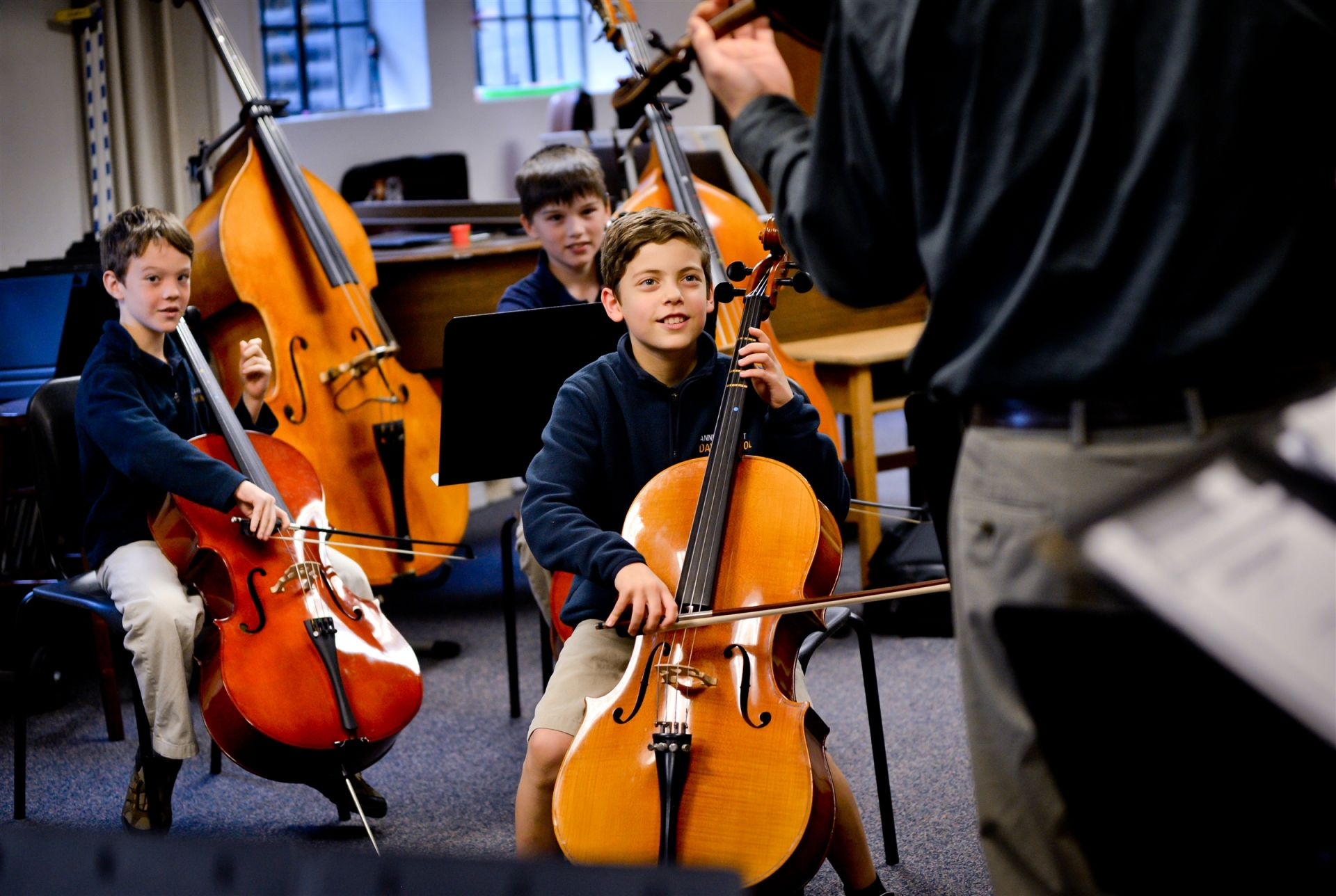 Music practice rooms provide ample space for group and individual lessons.