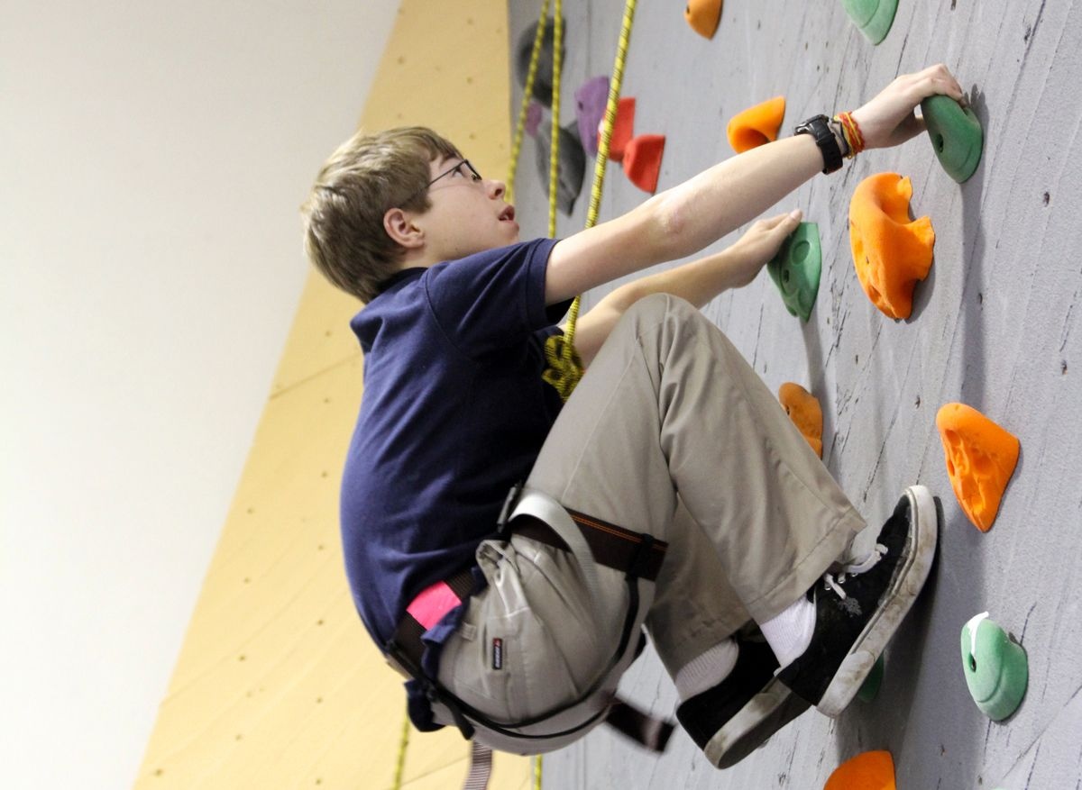 The indoor climbing walls provide an opportunity for all ages to develop climbing skill and strength.