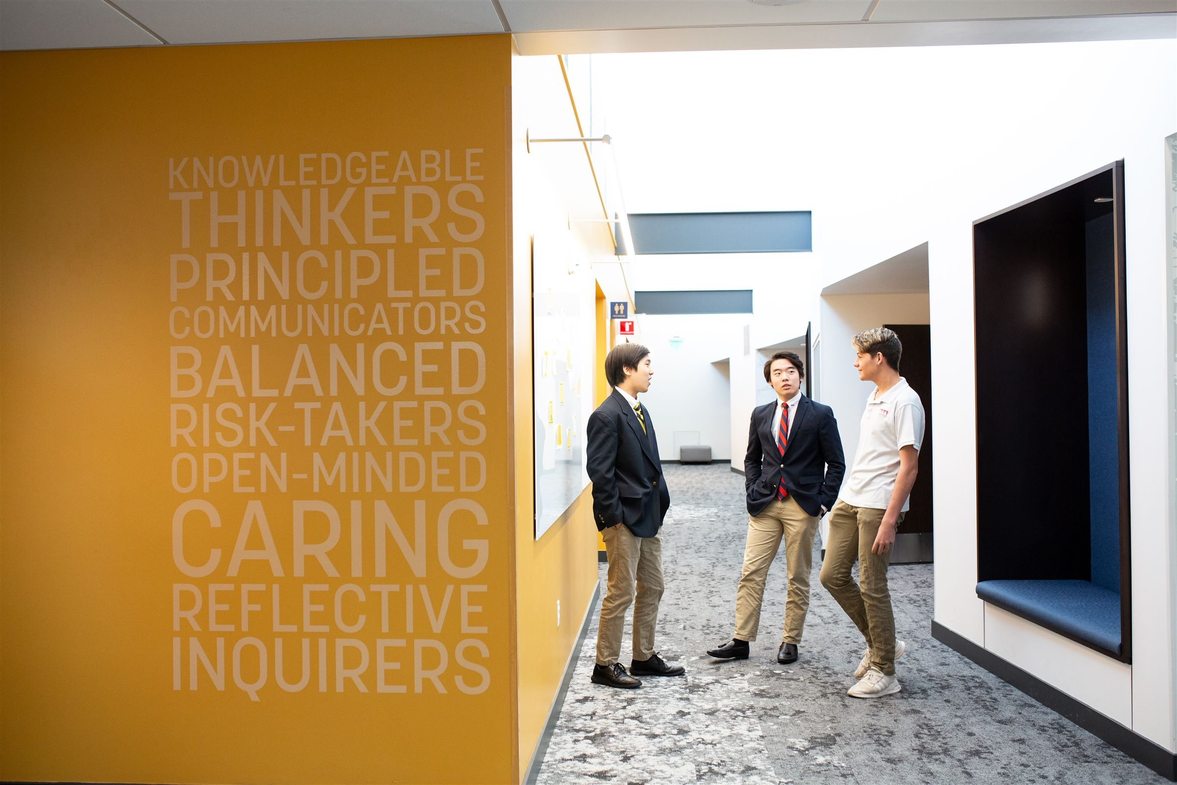 Skylights, open spaces and the IB Learner Profile characterize the top floor of the Upper School for Boys building.