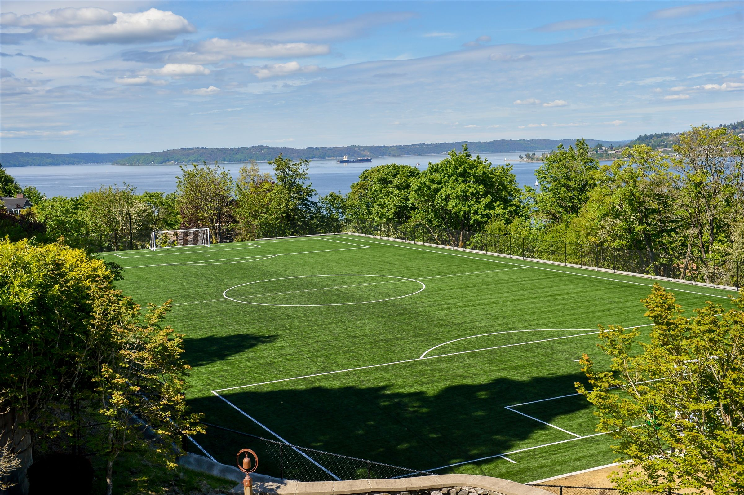 The all-weather James Memorial Field overlooking the Puget Sound was completed in 2017.