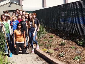 Student-planted Sensory Garden in the Middle School