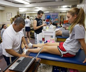 The athletic training room has some of the most modern equipment for treating and rehabilitating injuries and for providing cardiovascular conditioning to injured student-athletes.