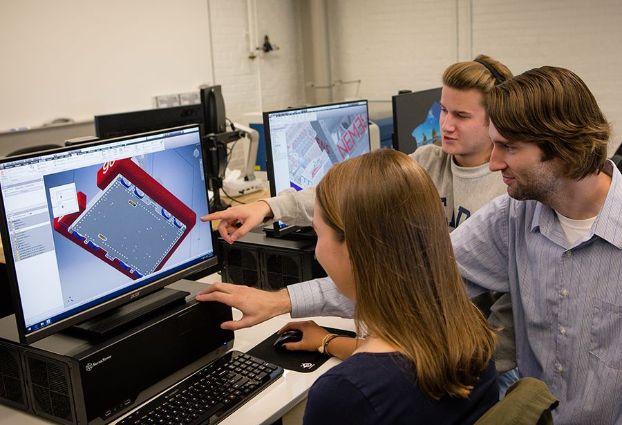 Using Computer Aided Design (CAD) software, students design 3D digital models of mechanisms with a focus on modeling and simulation, design robustness and manufacturability.