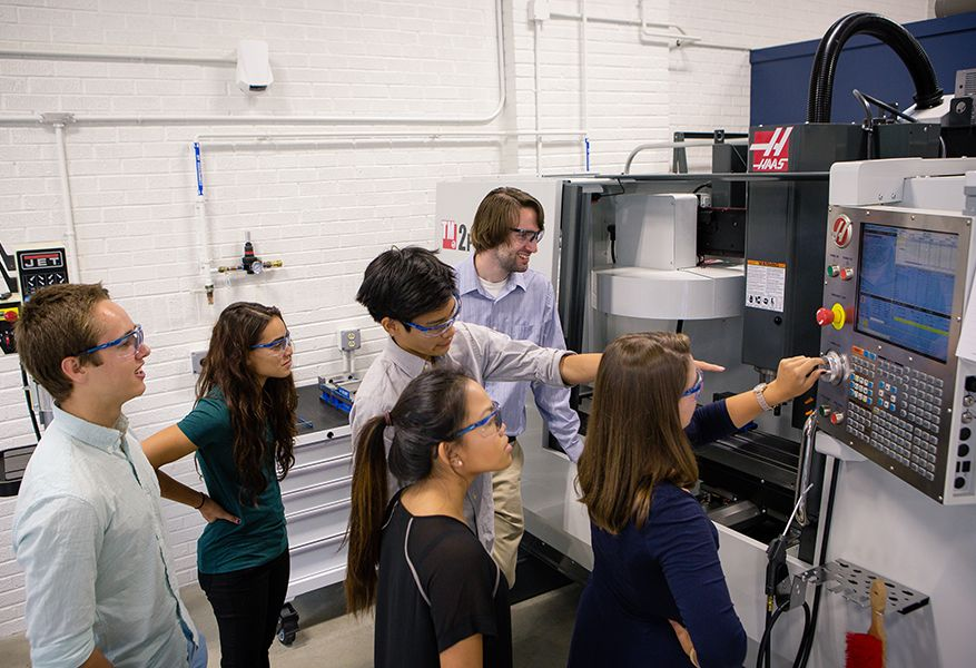 In the engineering studio, students work in groups to create and assemble projects using state-of-the-art tools and equipment