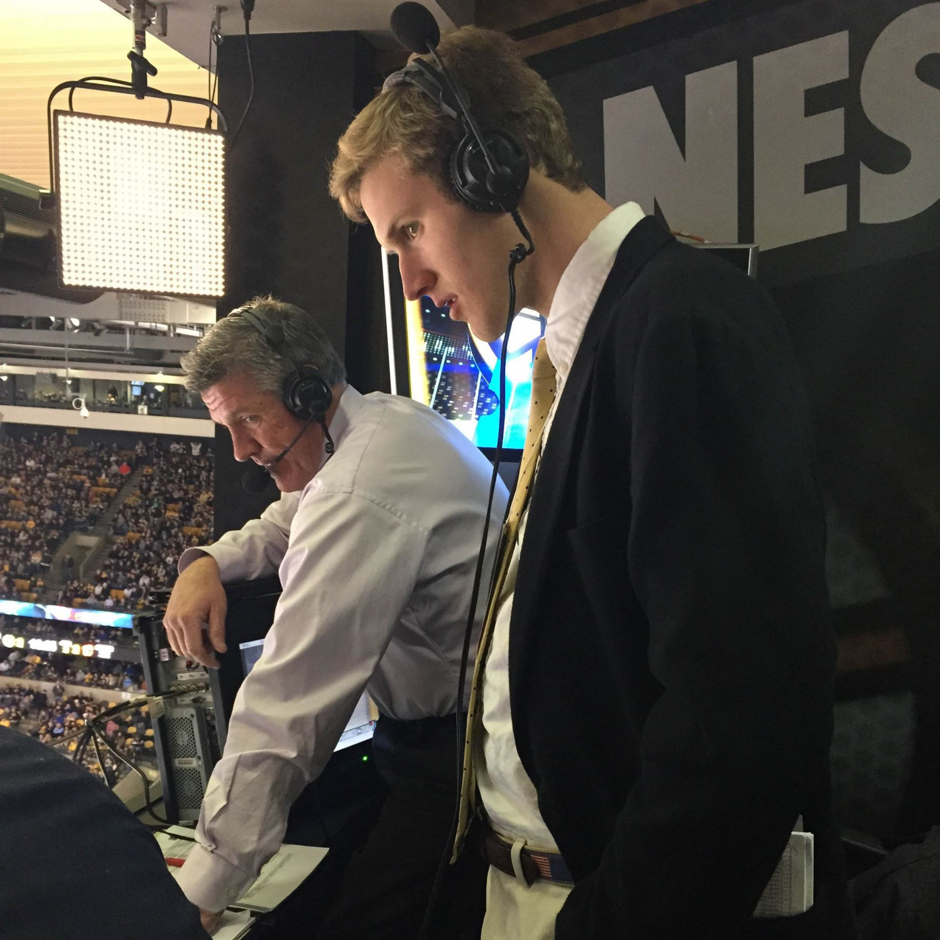Charles Harker: Shadowing Jack Edwards who is the NESN play-by-play announcer for the Boston Bruins.