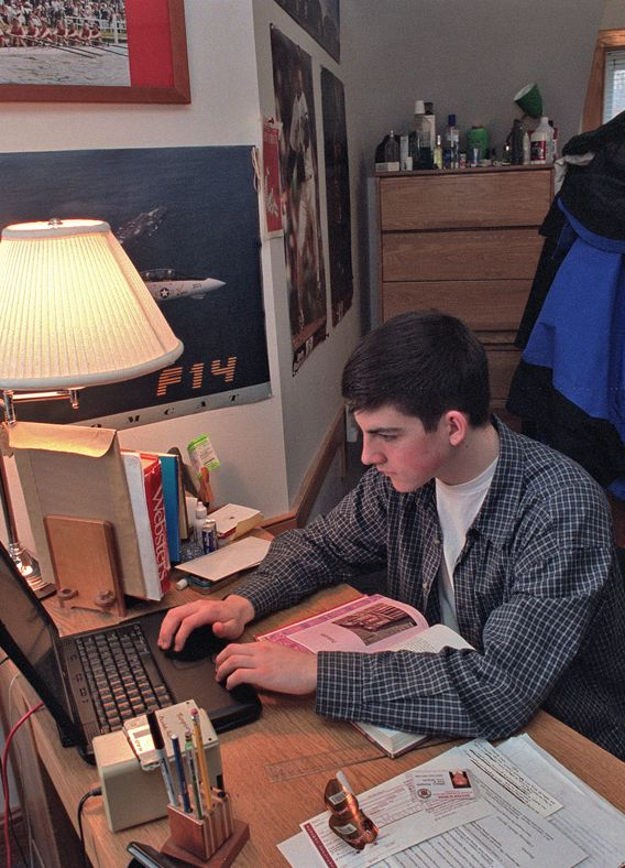 Studying in dorm room