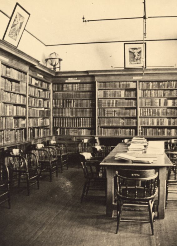 "The original St. Paul's library, located <br>in the Big Study, was established by the <br>Reverend Hall Harrison, by whose ""enthusiastic and energetic administration the interest of the boys in the library and in reading increased enormously."""