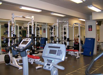 The weight room is popular with students and faculty.