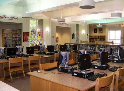 Raether Library has an excellent reference collection and 26 computers for research.