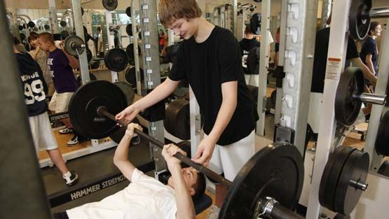 The EC weight room is used by PE classes and sports teams alike.