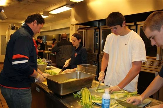 Eastside Catholic students were involved in preparing meals and packaging sandwich bags to be served to homeless or poverty-level individuals in need.
