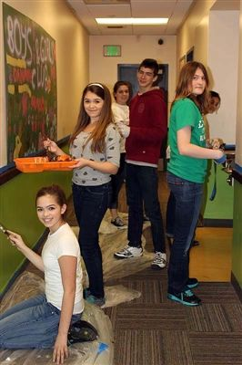 Eastside Catholic students cleaned exterior graffiti and cleaned and painted interior walls of the award-winning Southwest Boys and Girls Club in the White Center neighborhood of King County.