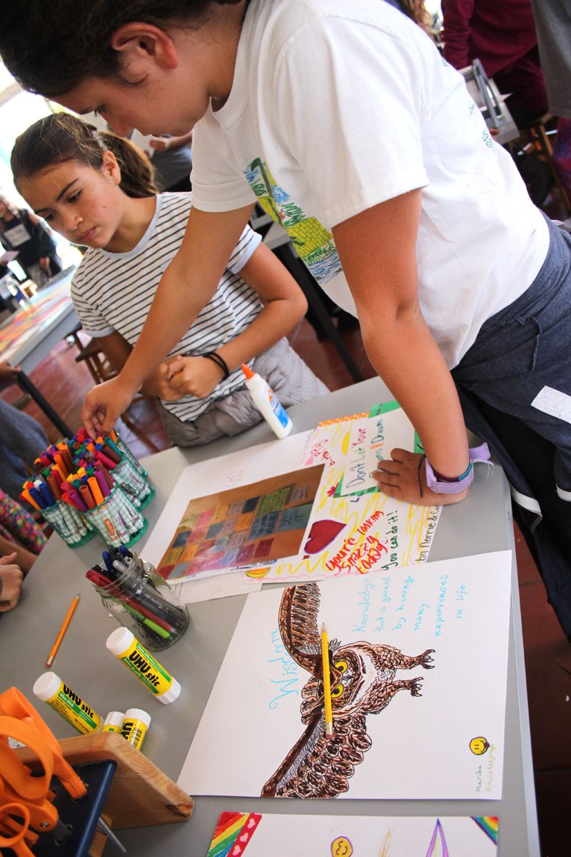 The international celebration of Character Day is one day, although JMSG will be highlighting one character strength each week at All School Meeting (ASM) throughout the school year. Eighth graders have the opportunity to choose a video, poem, or quote about character strength and share this with the student body. In celebration of Character Day students created posters to highlight particular character traits.