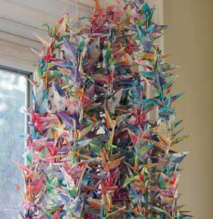 Students folded 1,000 paper cranes.