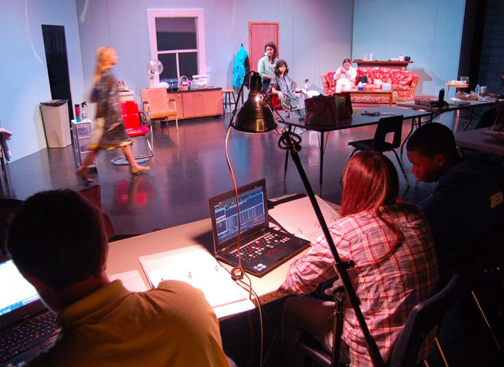 Tech crew works lights and sound for 'Steel Magnolias' in the Scinta Black Box Theater.
