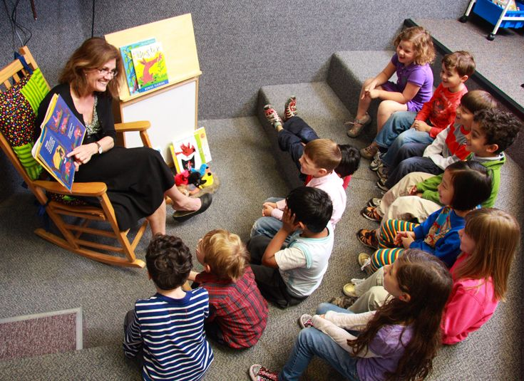 Story time in the Lower School Library