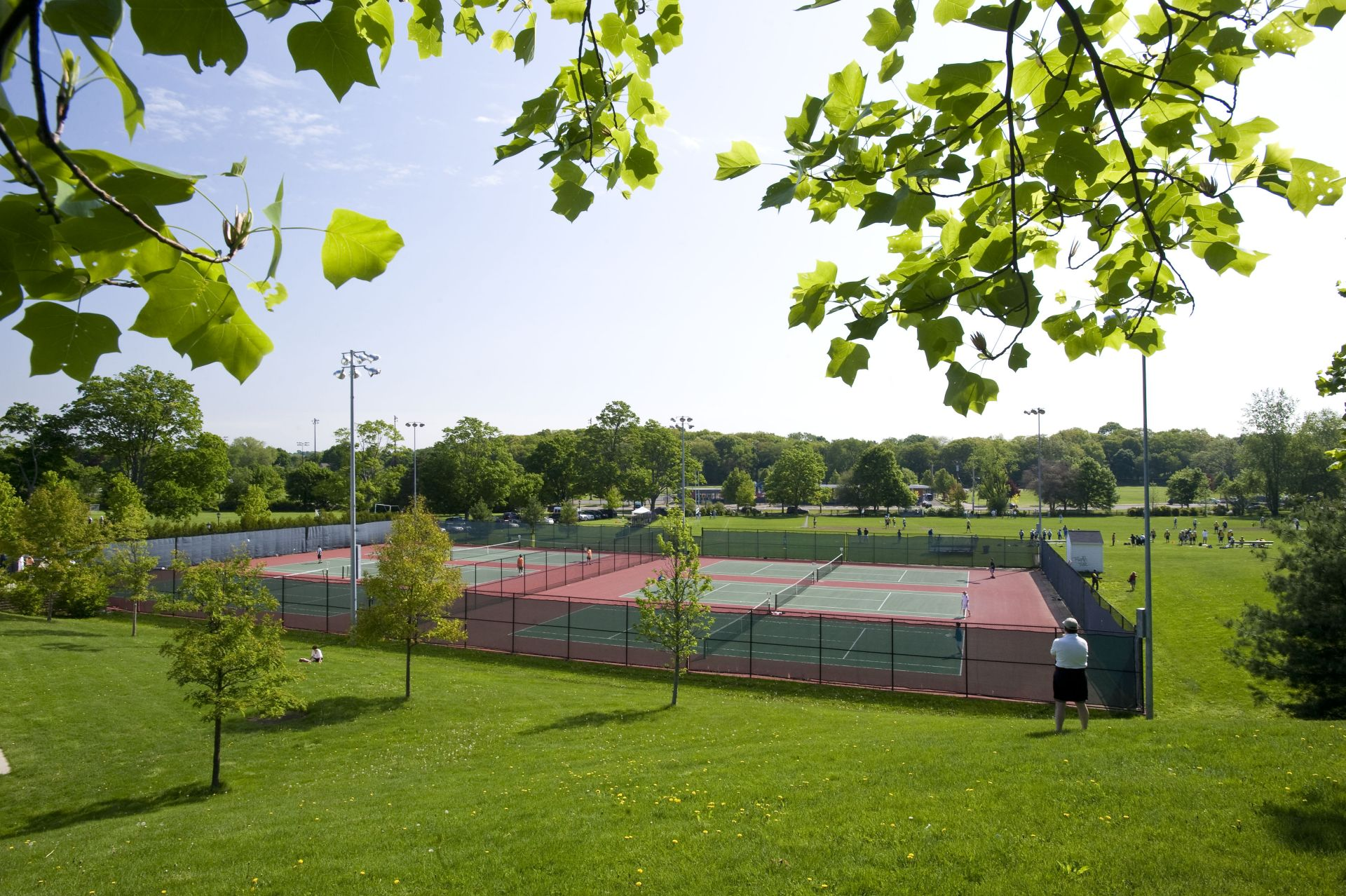 The Palandjian Tennis Courts: This block of six new, lighted courts are used by Fessenden