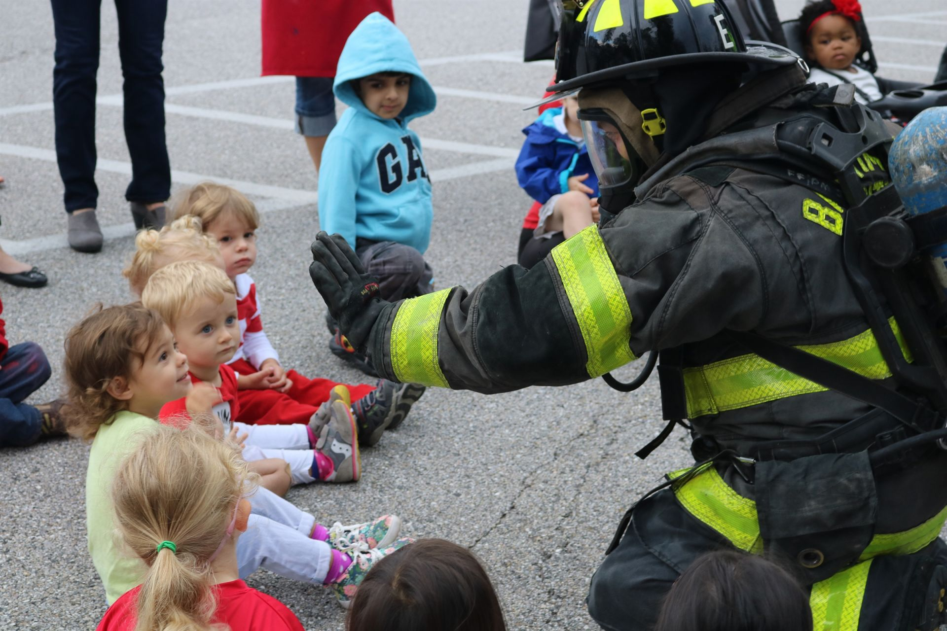 Our RPCS Preschool students recently got a special visit from the local firefighters of the Baltimore City Fourth Battalion. Truck Company 25 came to campus to remind students of the importance of fire safety. The children got to see the fire truck equipment and aerial ladder, and even got to wear a fireman's helmet!