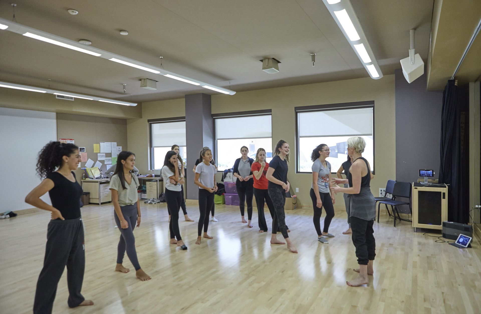Students in both Middle and Upper School take dance classes in our beautiful dance studio, located in The Marciano Family Academic and Performing Arts Building.