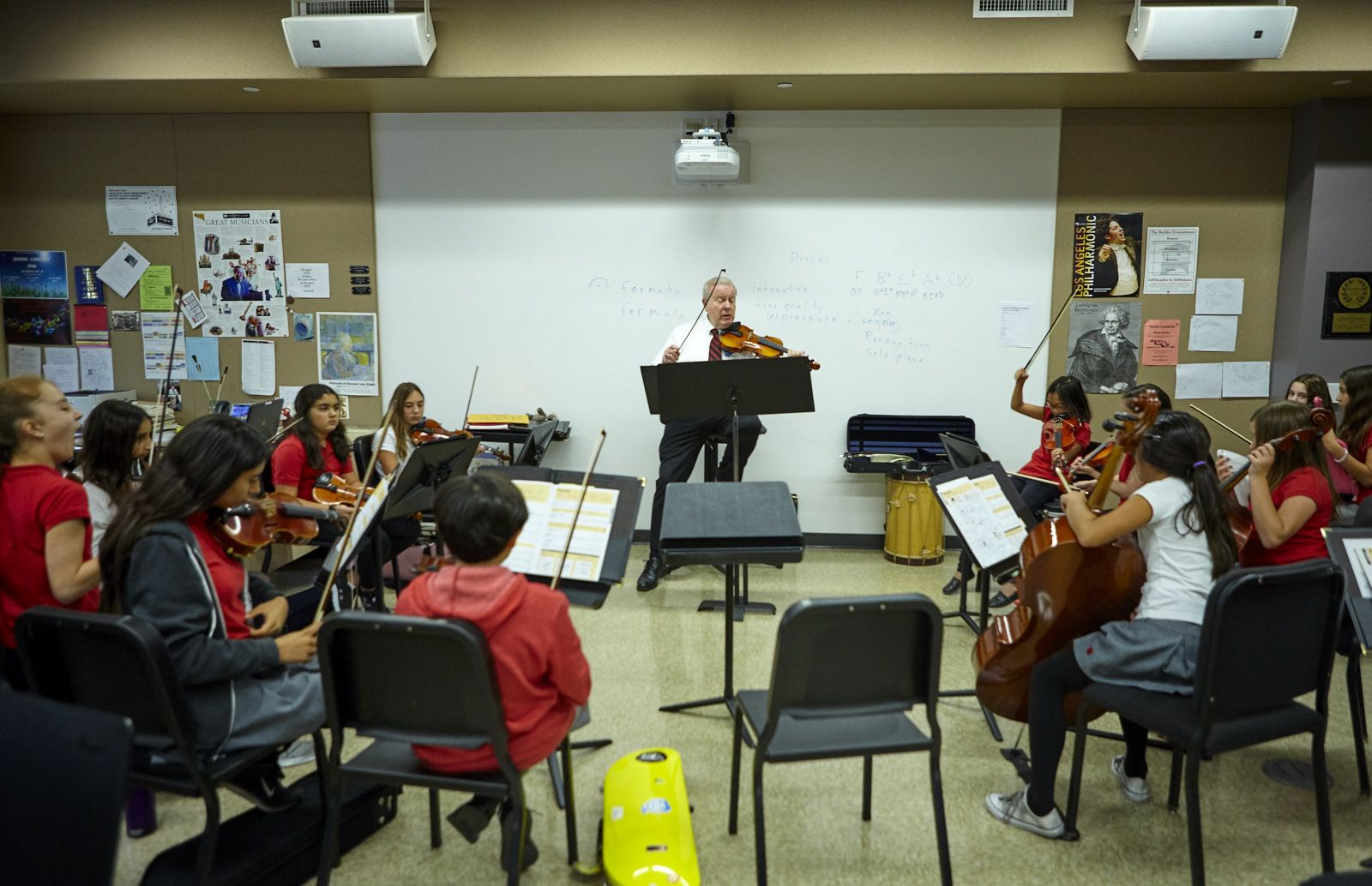 Orchestra and band for fourth through twelfth grade both have dedicated classrooms in The Marciano Family Academic and Performing Arts Building and the Lower School buildings, respectively.