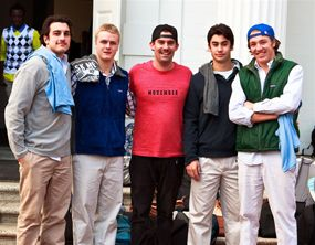 Jack Choate '97 (center) with current students supporting Movember on campus