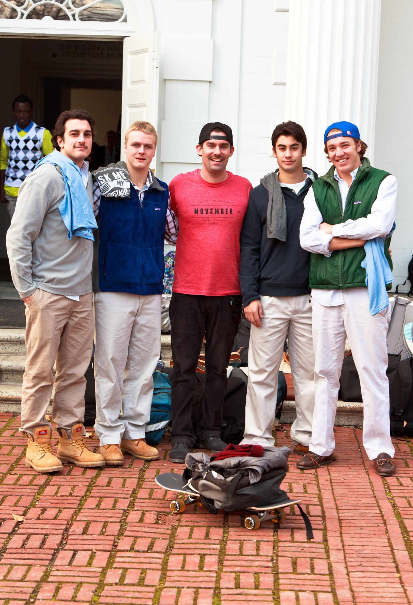 Jack Choate '97 (center) pays visit to Millbrook School in celebration of Movember