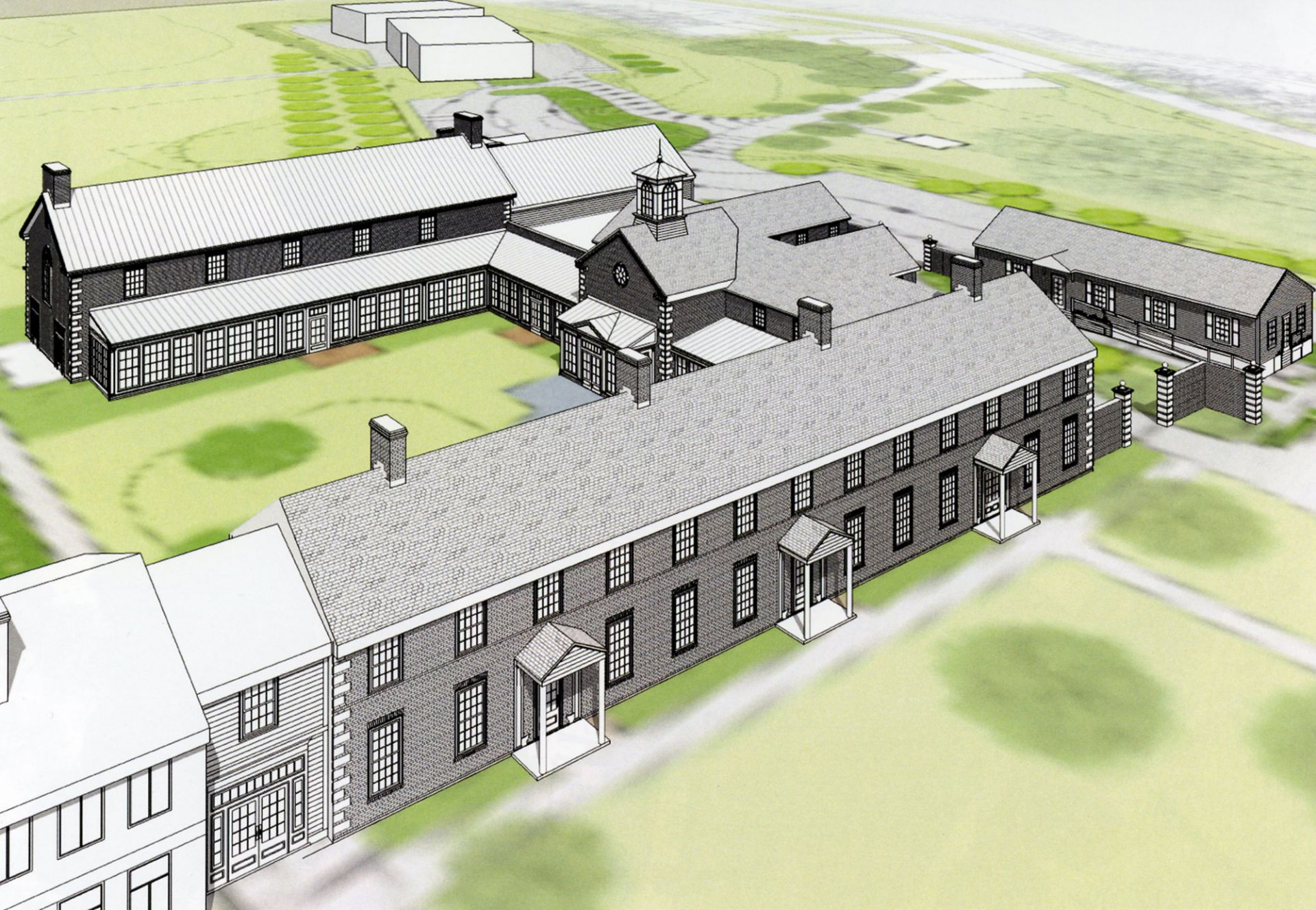 Rendering of the dining hall, courtyard, and Prum Hall