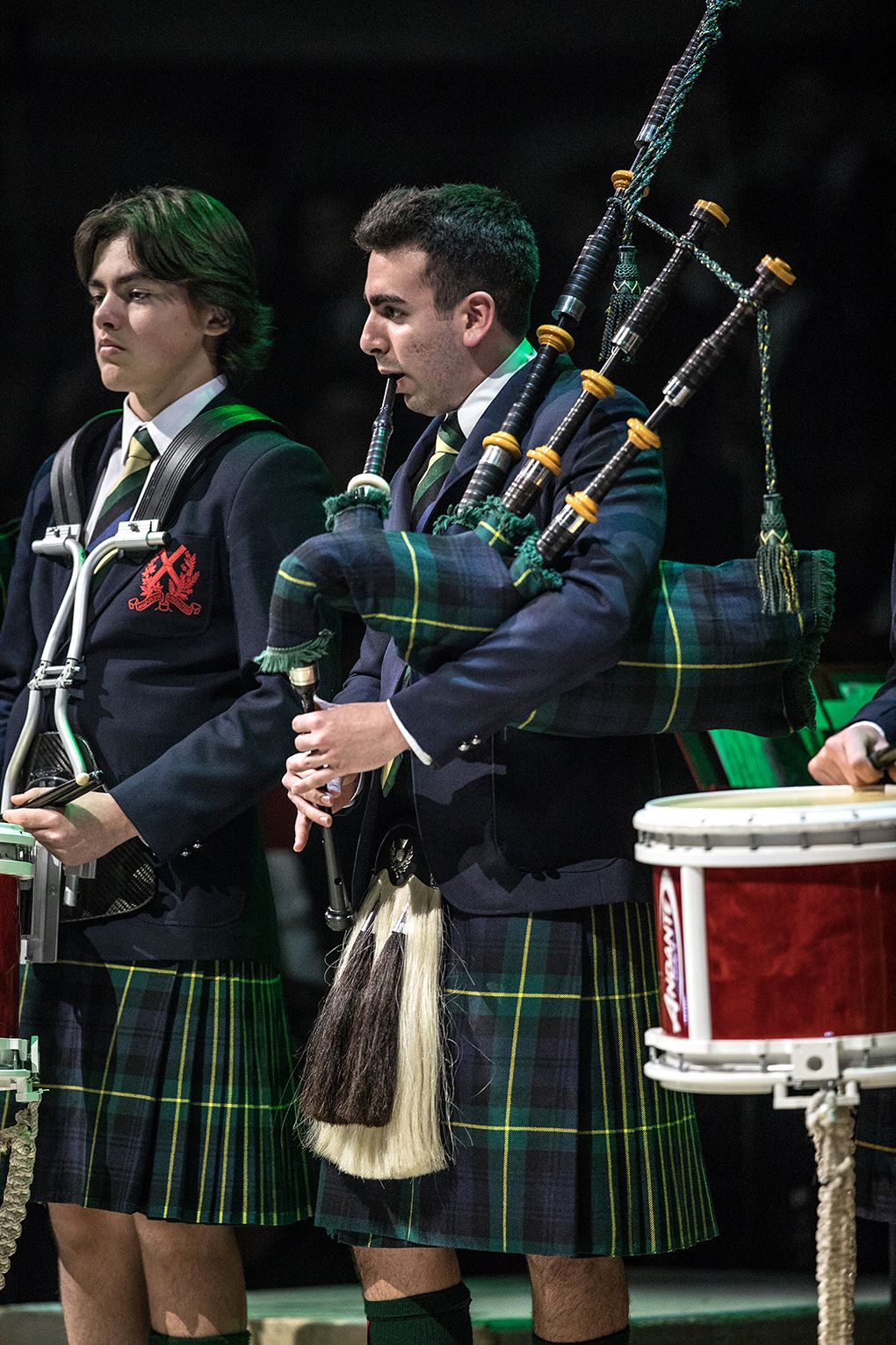 Drummer Ewan Fox and Piper Saajan Sethi