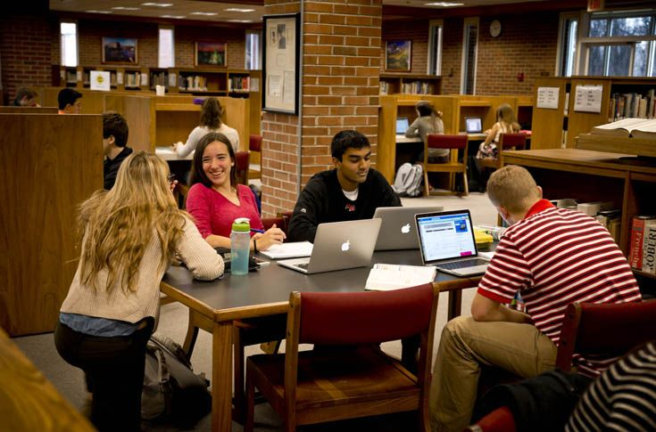 The Hawkes library offers quiet spaces for individual work and group studying.