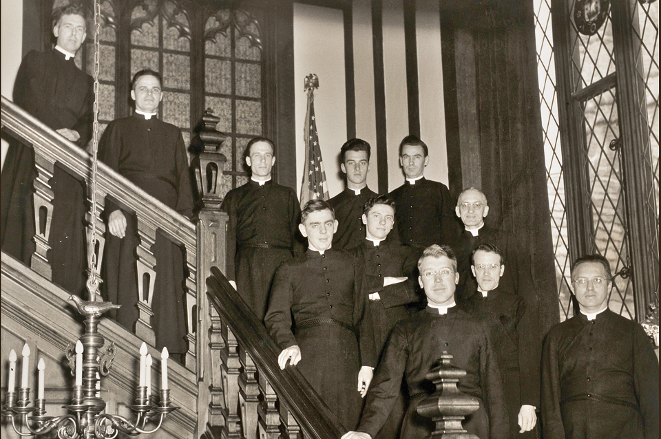 First faculty, 1946, Brother Theophane, 1st headmaster front row second from right