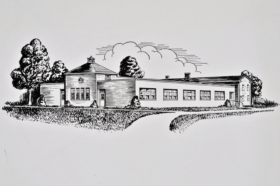 Artist rendering of 1948 classroom building