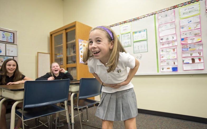 "Girls get physical to learn Chinese phrases such as ""I am not feeling well"" because when learning foreign languages, memory is enhanced through movement. This exercise generated giggles but world languages are serious business at Hutchison where the lower school program was cited for a national award by the American Council on the Teaching of Foreign Languages. By ninth grade girls are expected to select either Spanish or Chinese to achieve oral proficiency in a second language."