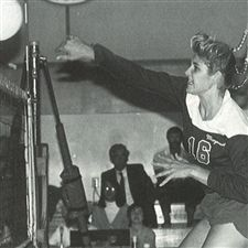 Kristin Klein Keefe '88 shows her talent on the Marymount Volleyball Court