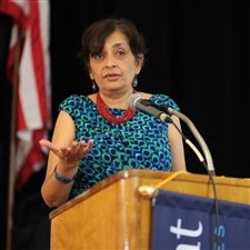 This year's first Inspiring Boldness speaker, Dr. Jayathi Murthy, addresses the Marymount community