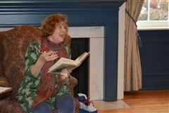 "Author Harriet Chessman discusses her book during a ""Tea and Talk"" event"