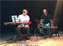 (Left to right) Aaron Cecchinni-Butler on piano and Nate Trier, who created electronic soundscapes on his laptop.