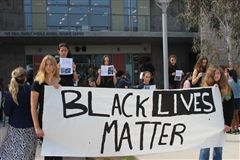 Students show their solidarity for the Black Lives Matter movement during a June 2 demonstration.