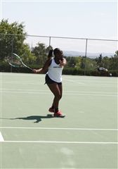 Agye's powerful groundstrokes helped her win her first three matches 6-0 6-0.