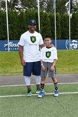Raiden Calcote with Seahawks Quarterback Russell Wilson
