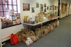 The Annie Wright community collected 1,140 pounds of food to benefit St Leo Food Connection.